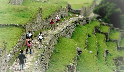 Machu Picchu path, backpackers